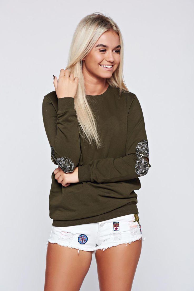 Darkgreen casual cotton sweater metallic spikes, women`s sweater, crystal embellished details, metallic spikes, long sleeves, elastic cotton