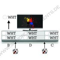 Elements EX-260-TV0-WHT Sonorous TV-Lowboard 260 x 40 x 50 cm, Kabelführung,  Glasdekor weiß, Schubladen Kombination