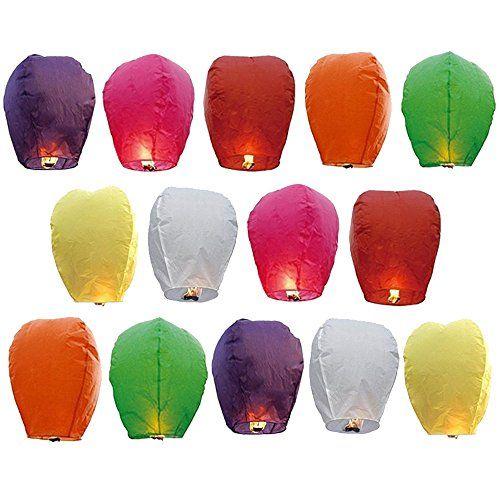 Goodlucky365 14 St�cke Sky Laterne Himmelslaterne Chinesische Papier Laterne Fliegende Kerzenlaterne f�r W�nsche, Partys und Hochzeiten