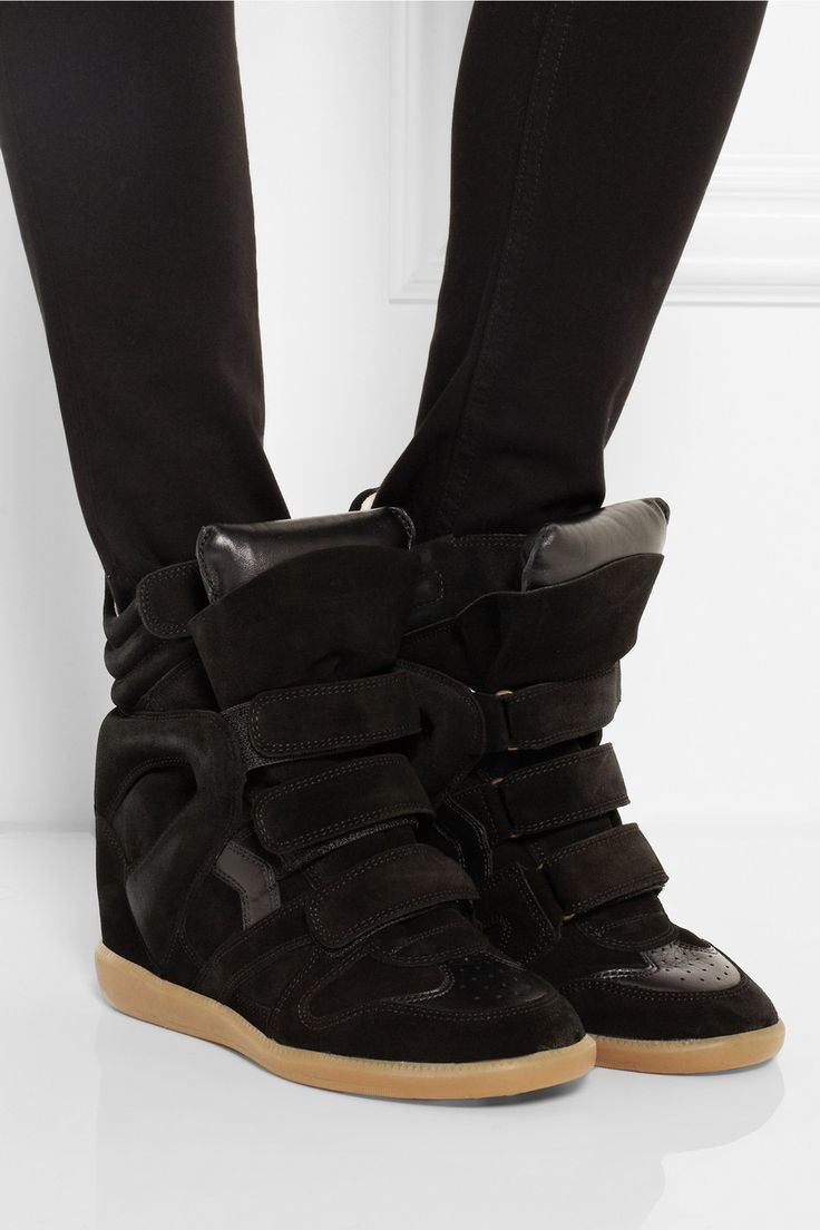 Isabel Marant | The Bekett leather and suede concealed wedge sneakers | NET-A-PORTER.COM