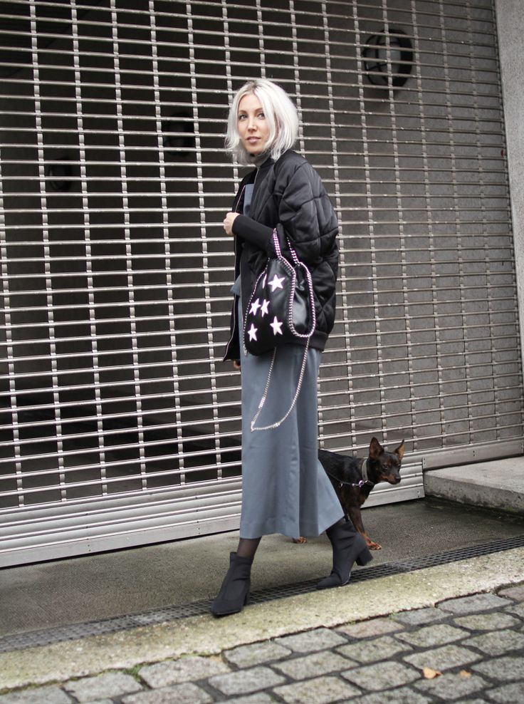 Latzkleid, Cos, Bomberjacke, Rollkragen, People Tree, grey, black, Zara, Asos, vegan fashion, lotd, Look, ootd, Outfit, Streetstyle, Fall, Fashion, Blog, stryleTZ