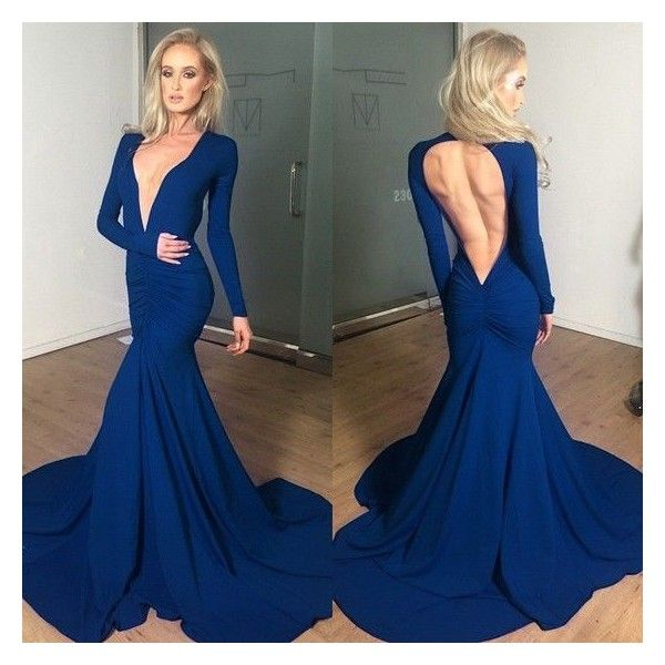 Navy Blue Plain Pleated Cut Out Backless Mermaid Plunging Neckline... ❤ liked on Polyvore featuring dresses, gowns, navy blue ball gown, navy blue evening dress, navy blue maxi dress, navy blue dress and navy blue prom dresses
