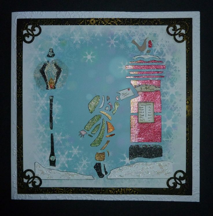 'A Letter to Santa Claus' card.  - Imagination Craft's -Snowflake patterned card.  Christmas List stencil.  Starlight paints.  Detail Sparkle.    Pebbleshore MDF paint.  Snowflake embossing folder.  EK Success corner punch.  September 2015.  Designed by Jennifer Johnston.
