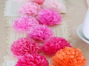 Easy tisue paper flower table top decor.  DIY craft tea party ideas.