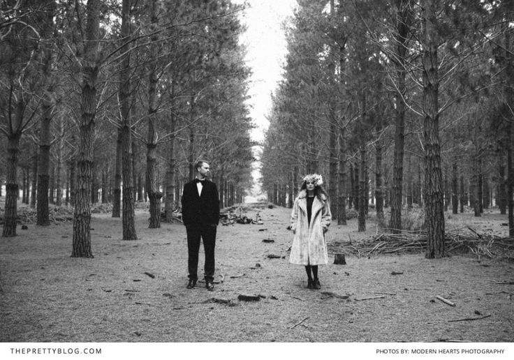 Black and white couple photo in a forest | Modern Hearts Photography