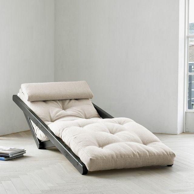 Figo Convertible Futon Chair/Bed, White Frame, Horizon Blue Mattres contemporary-sofa-beds