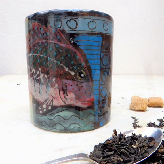 Mug With Very Nice Fish Colors And Patterns