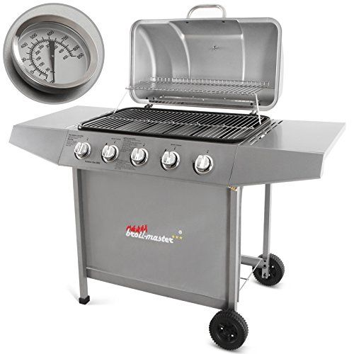 broil-master-5-Burner-BBQ-Gas-Grill-Steel-Barbecue-with-2-Side-Racks