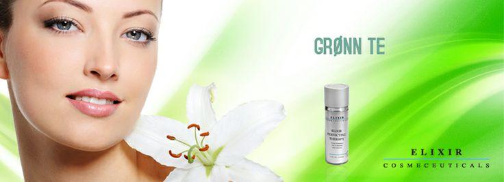 Informasjon om bruk av grønn te i hudpleie produkter fra Elixir.Melasma