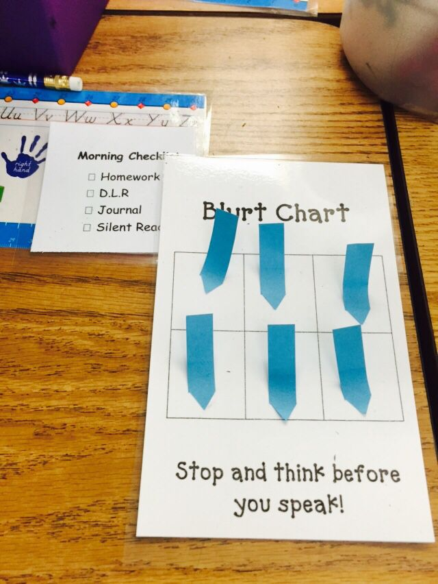 Blurt chart at student desk along with a checklist for morning work.