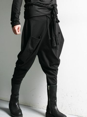 Rope cord belt and drop crotch pants #avantegarde #fashion #GothLuxe