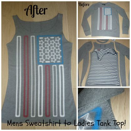 Refashion a mens sweatshirt into a ladies tank top!