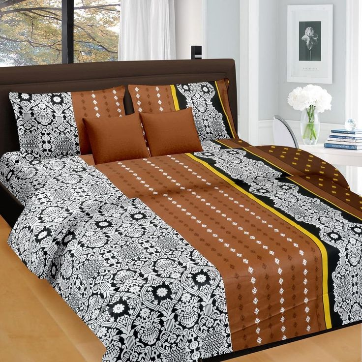Black Brown Floral Pattern Double Bed Sheet   King Size Double Bed Sheets  Online India