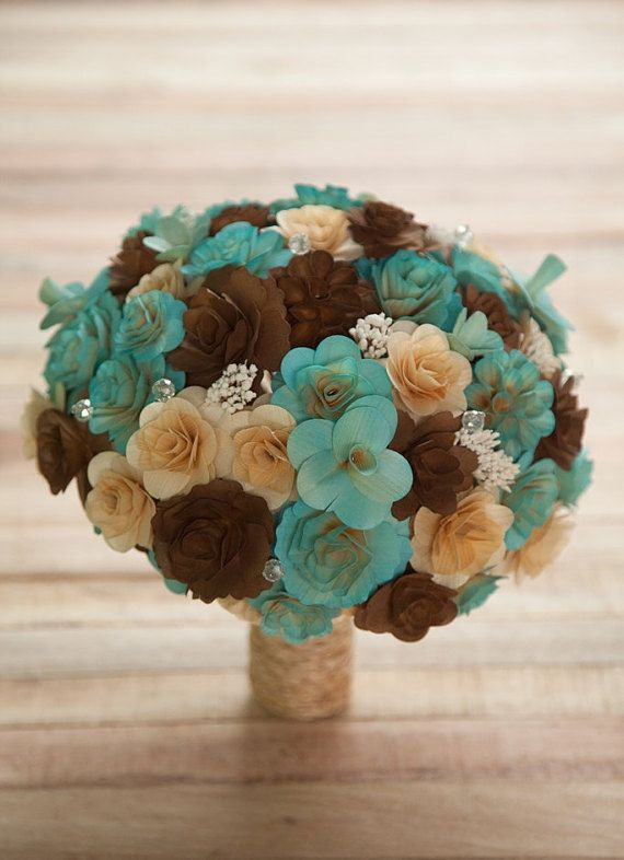 FREE SHIPPING Blush Blue and Brown Wooden Bouquet by etcPAPERetc
