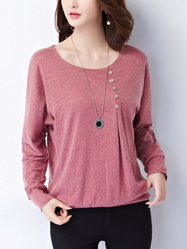 9f107dfa Casual solid long sleeve button women loose t-shirt jeans and a t shirt  girl #