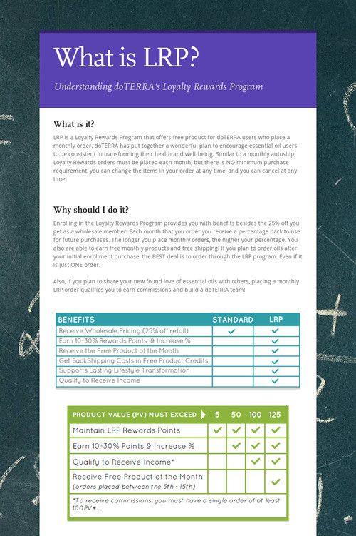 Handy tool for understanding doTERRA's Loyalty Rewards Program (LRP)