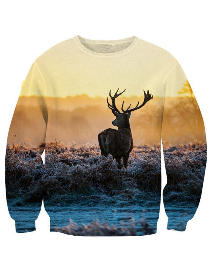 Deer Print Loose Sweatshirt