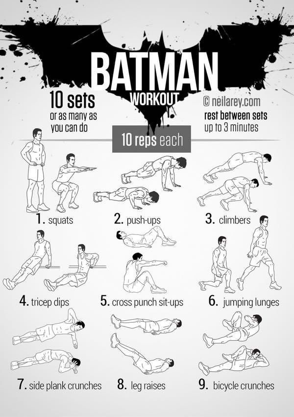 So, you want to be a superhero. Unless you're the last survivor from an alien planet who's blessed with the ability to absorb yellow sunlight and shoot laser beams from your eyeballs, you'll need to work yourself into reasonable shape. Batman Abs of Steel Deadpool Ironman  The Hulk Thor Wolverine One Punch-Man Super Saiyan …