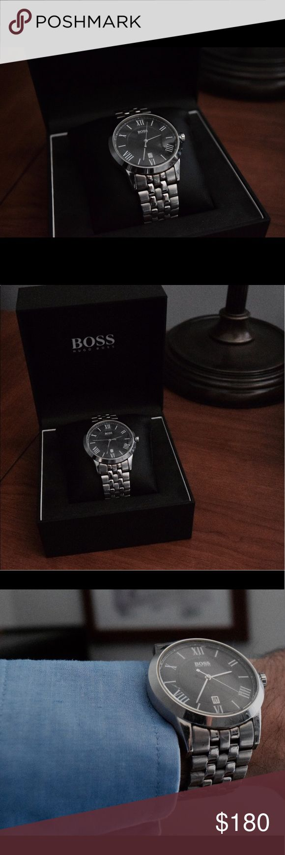 HUGO BOSS STAINLESS STEEL WATCH MEN 💼 Superb watch for superb businessmen. A gentleman knows how to invest in himself!                                         -Stainless steel case -Stainless steel bracelet  -Black dial -Quartz movement -Water resistant up to 5 ATM Hugo Boss Accessories Watches