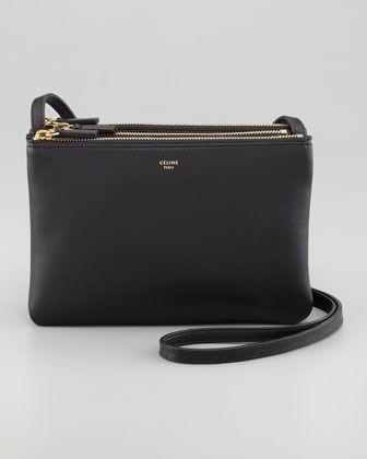 Celine Solo Small Trio Pouch Crossbody Bag, Black