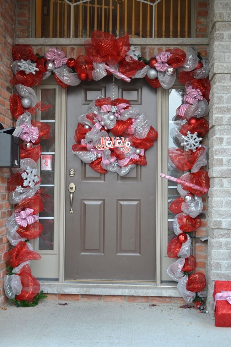 73 best deco garland images on pinterest christmas ideas deco christmas decoration christmas front a door diy deco mesh wreath