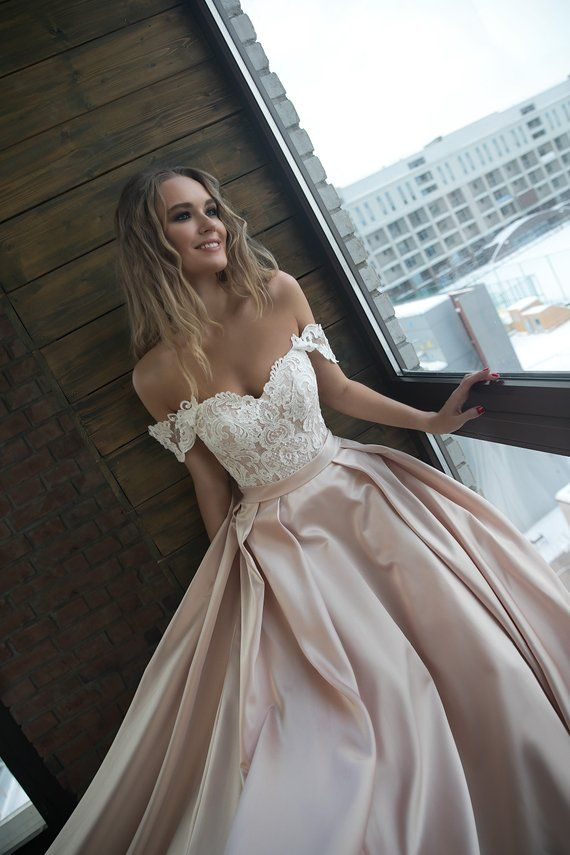 A silhuette satin with straps wedding dress Alisy by Olivia Bottega. Open top with cord lace and lace up