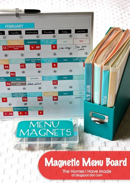 DIY Magnetic Menu Board. I want to do this for my homeschool schedule. All you need are magnetic sheets (can get on amazon, walmart, staples, etc.) and an ink jet printer to make beautiful, customized magnet strips!