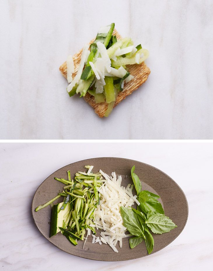 Expand your cheese horizons with some pecorino cheese paired with shredded zucchini and basil on a Triscuit. We call it zuchbasorinoscuit. That's where we took it. Where you take it is entirely up to you.