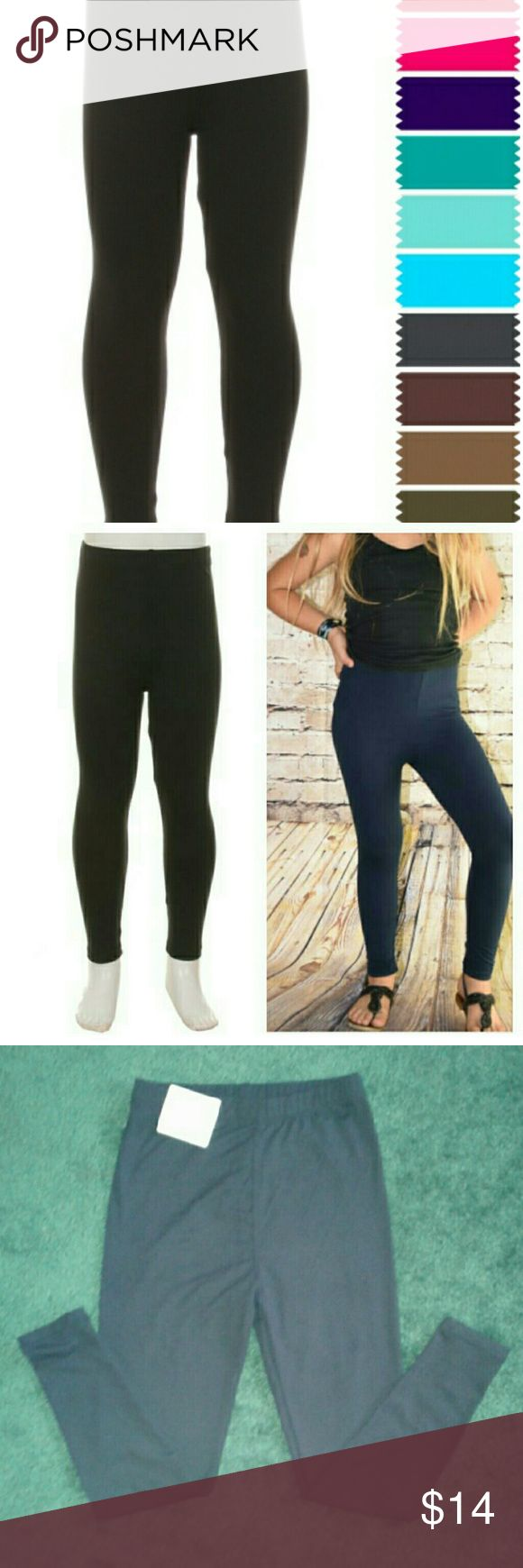 """Buskins girls black leggings Bikinis are buttery soft  with 95% polyester 5% spandex they have an ultra soft peachskin feel. For girls one size fits most from age 8 TO SIZE 1- 2... MEASUREMENTS: INSEAM 19 1/2"""" waist 9 1/2,  Open to offers. Buskins  Bottoms Leggings"""