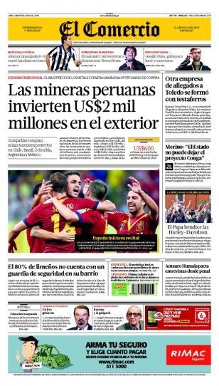 LUNES 17 de JUNIO de 2013  (PORTADA DE EL COMERCIO)
