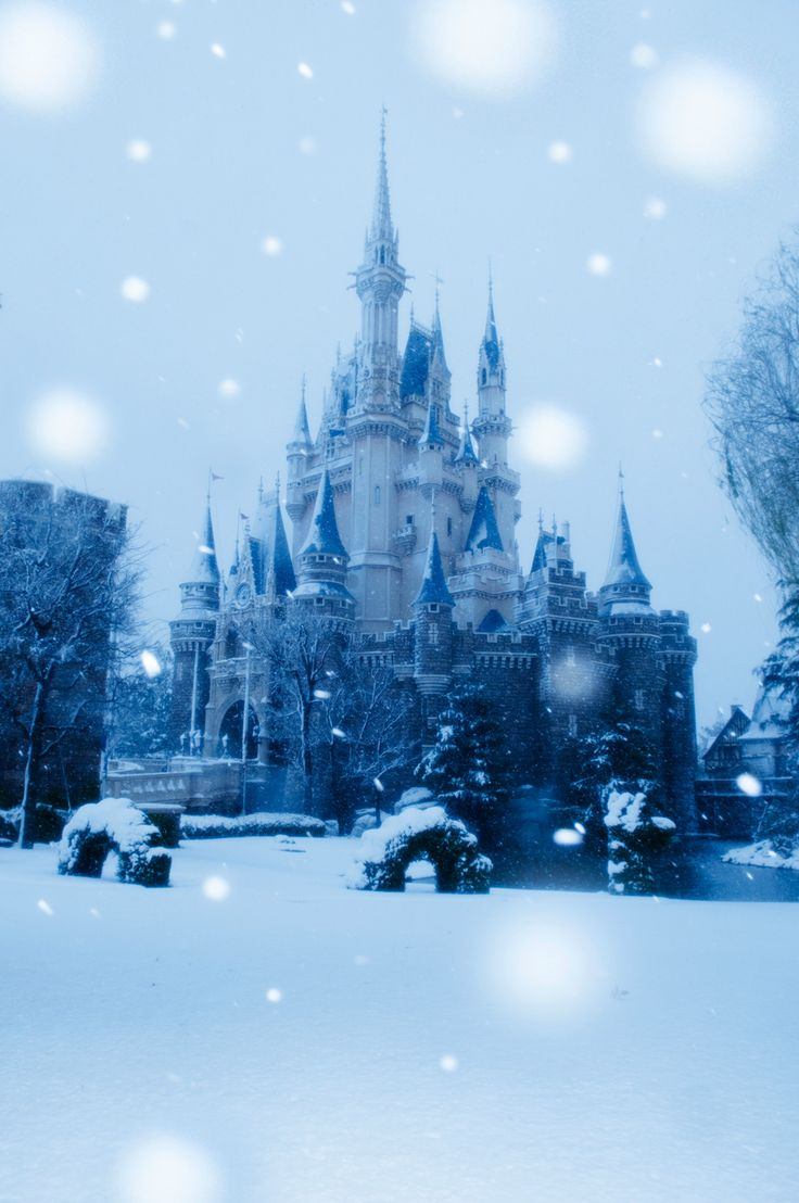 An image straight out of a fairy tale - winter wonderland at Sleeping Beauty Castle in Tokyo Disney Resort