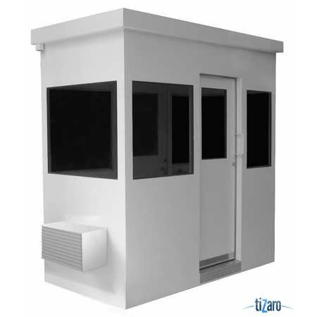Guard Building Ballistic-Rated Level 3 Width 54 inches, Length 120 inches, Height 103 inches, Walls - R10 / Ceiling - R19 Insulation 1 1/2 inches. Solid Insulated Subfloor With Aluminium Treadplate Flooring Lights Fluorescent Surface Mounted Includes 1 - Sliding Door With Window Fixed Windows All Around 1-Steel Counter 1 - Light Switch 1 - 115V Duplex Outlet 1 - 230V Outlet 12-Circuit Breaker Box 1 HVAC Unit