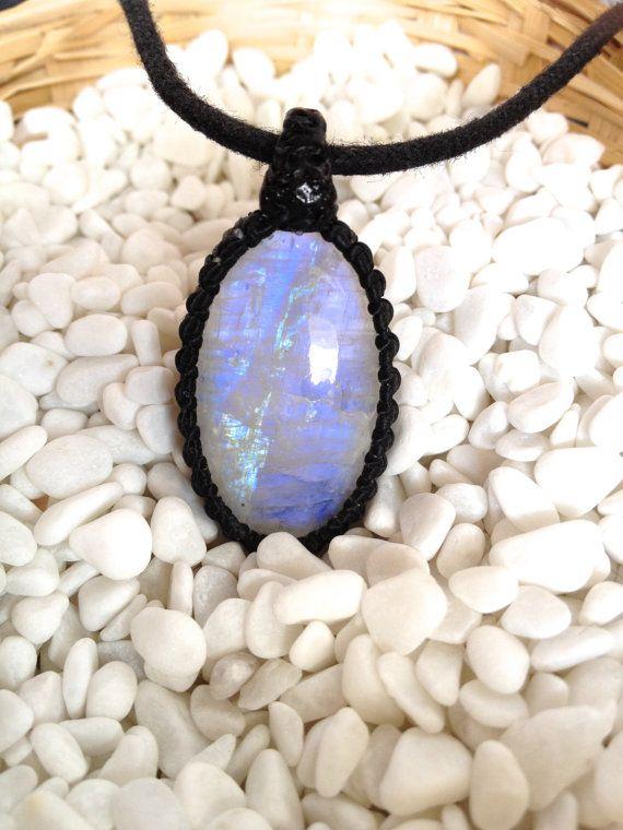 Blue Moonstone Pendant  Moonstone Macrame Pendant  by KnotRocks