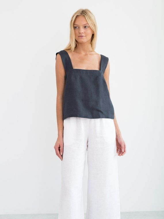 f5bf7ce9249194 DETAILS - Wide straps - Square neckline - Sleeveless design - 100%  lightweight European linen fabric - Cut and sewn to order just ...