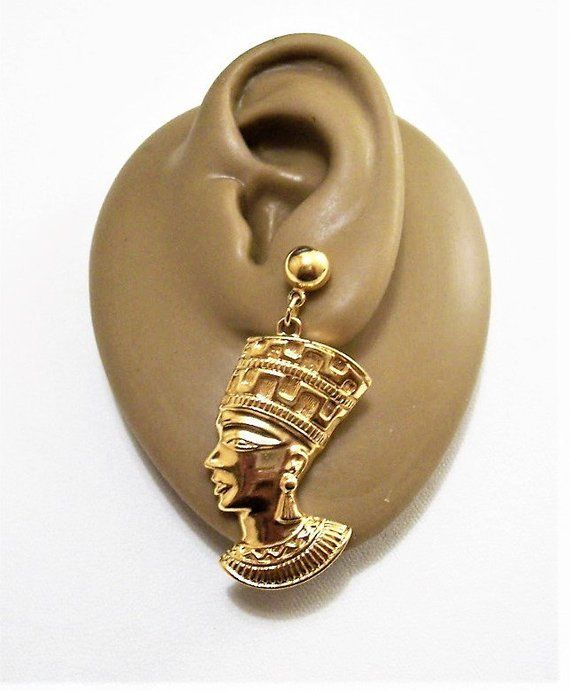 d249b9a37 Avon African Queen Nefertiti Pierced Post Stud Gold Tone Vintage Egyptian  Revival Collection Round Domed Bead Long Detailed Dangles in 2018 ...