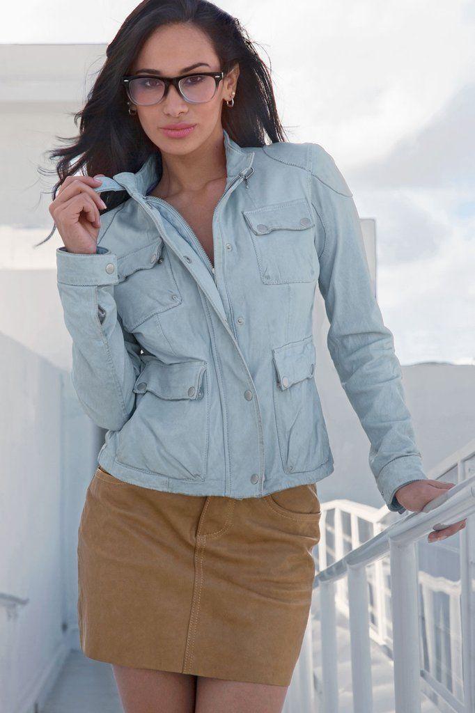 Sky Blue Washed Leather Field Jacket