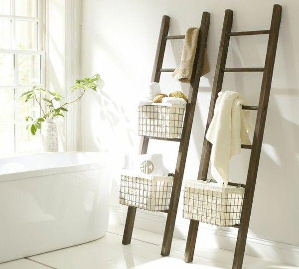 Id es pour le stockage avec des chelles en bois de porte - Echelle porte serviette bois ...