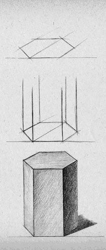 Школа рисования и живописи New Art Intention. Уроки рисования карандашом. Поэтапное рисование призмы. #artintent #artintentstudio