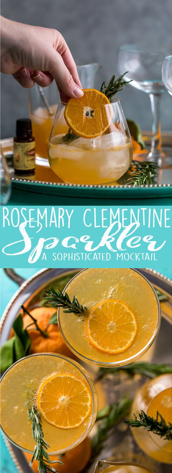This non-alcoholic Rosemary Clementine Sparkler is a sophisticated mocktail perfect for the holidays. Non-Alcoholic Recipes | Pregnancy drinks | Drinks for teens | Baby Shower drinks | Dry January | Winter Mocktail | Non-alcoholic party drink | Sparkling mocktail | New Years Mocktail