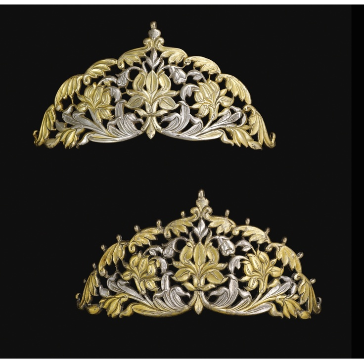 TWO PARCEL-GILT SILVER HEADRESS ORNAMENTS, NORTH INDIA, 18TH-19TH CENTURY