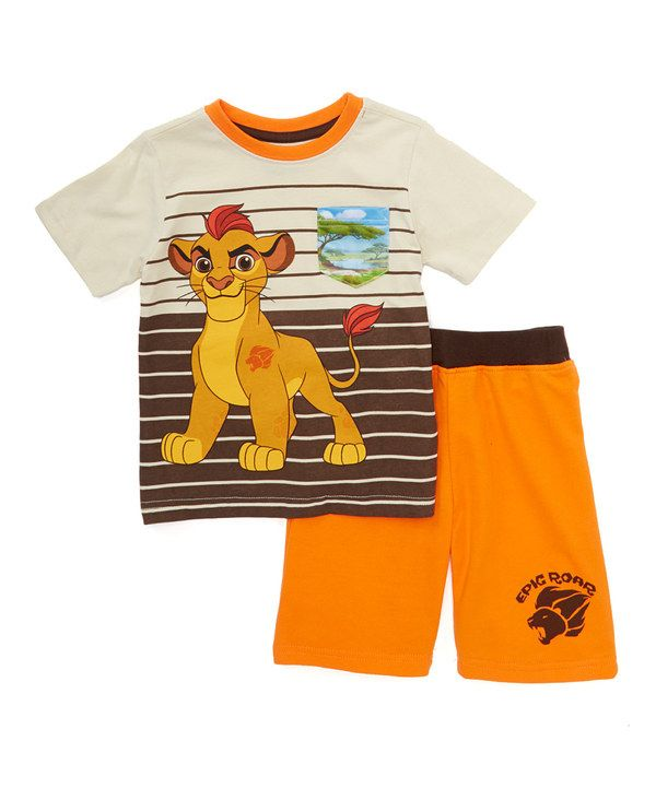 Look At This Beige Orange Lion Guard Tee Shorts