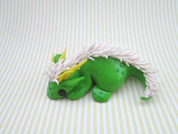 OOAK Polymer Clay Green Dragon with White Mane by KriannaCrafts
