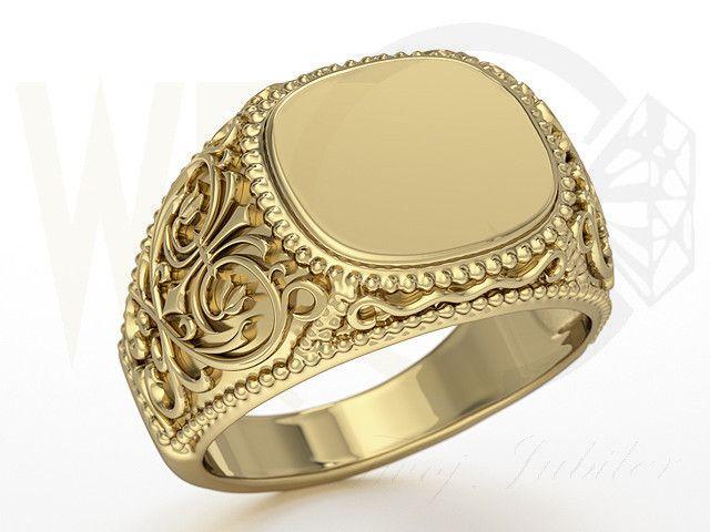Sygnet z żółtego złota / Signet ring made from yellow gold / 2884 PLN #signet_ring #gold #jewelry #jewellery #man #sygnet #bizuteria #zloto