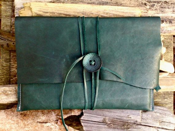 Turquoise 13 inch Leren Mac Book Hoes Charezza Leather