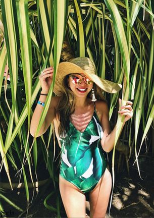 Green Leaf Print Ladder Cutout One-Piece Swimwear -SheIn(Sheinside)