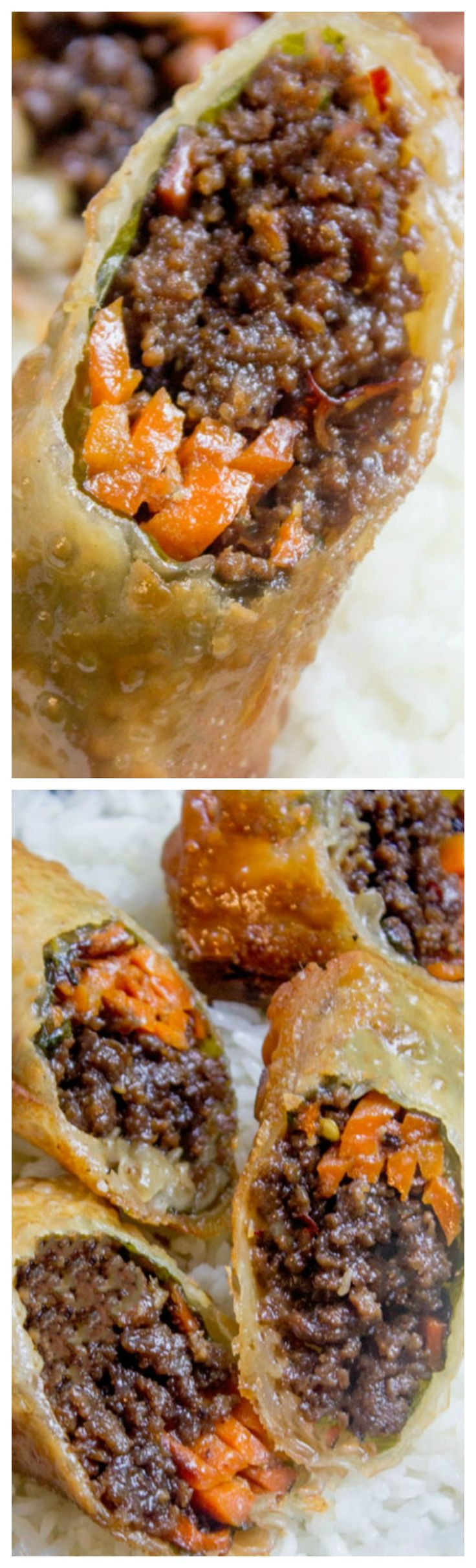Korean Ground Beef Egg Rolls ~ Made with just a few ingredients are a great party food and perfect use of leftovers!