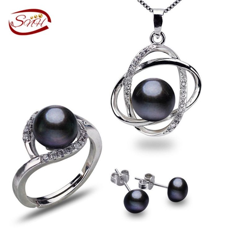 Black Natural Freshwater Pearls Jewelry Set