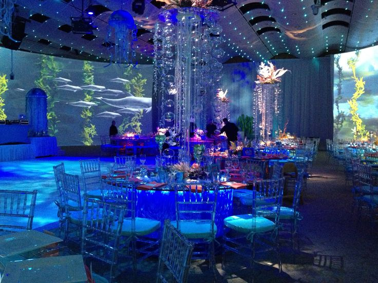 Seawell Grand Ballroom, Denver, CO underwater bat mitzvah theme Video huge screens! Amazing center pieces! Diving ocean water fish blue sea