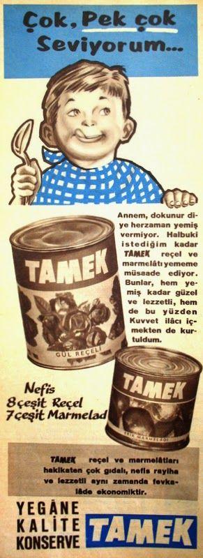 OĞUZ TOPOĞLU : tamek reçel ve marmelat 1959 nostaljik eski reklam...