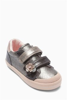 Pewter Embellished Low Top (Younger Girls)